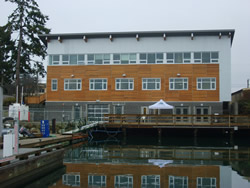 A shot of the LEED platinum certified green building from the waterfront in Gulf Islands National Park Reserve.