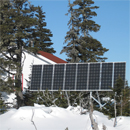Close up of the new solar panel for the base camp at Île aux Oiseaux, Mingan National Park Reserve.