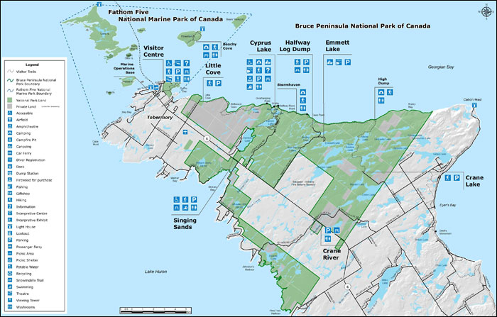 Map of Bruce Peninsula National Park and Fathom Five National Marine Park