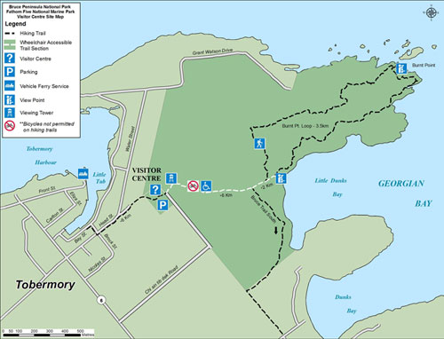 Map of Parks Canada Visitor Centre, Tower and Trails in Tobermory