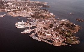 Aerial view of CFB Esquimalt Dockyard, including graving dock