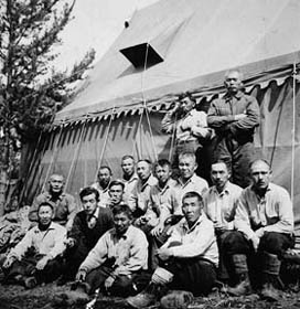 Group of Interned Japanese Canadian Men at a Road Camp