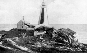 Cape Forchu lightstation with the original 1839 wooden tower, before July 1908