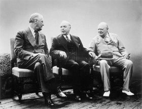 President Franklin Delano Roosevelt, Prime Minister William Lyon Mackenzie King, and Prime Minister Winston Churchill at the Citadel during the Quebec Conference of 1943.