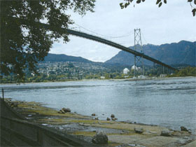 A view of the Lions Gate Bridge, notice the delicate deck