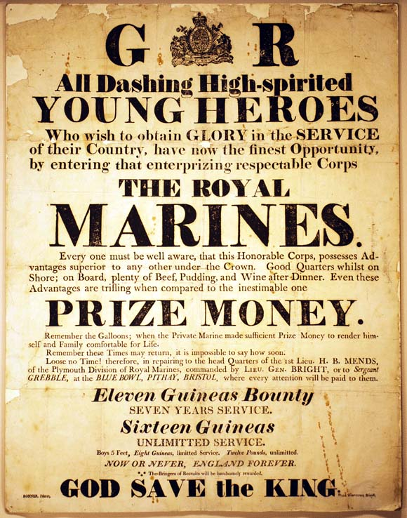 Image of a Royal Marines recruitment poster during the War of 1812.