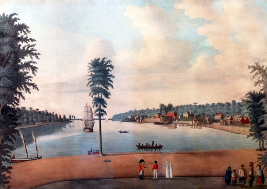 View of Amherstburg, watercolour painting by Margaret Reynolds, 1813