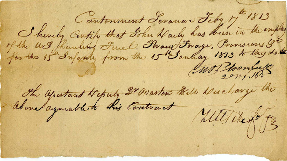 Document signed by US Colonel Zebulon Pike