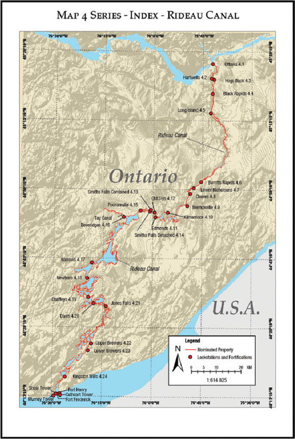 Map of the Rideau Canal