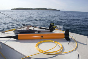 Remote-sensing towfish: Klein 3000 side-scan sonar and Marine Magnetics Seaspy magnetometer.