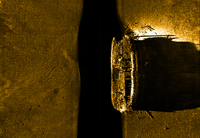 Sonar image of the ship