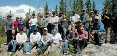 Wood Buffalo Park Staff, local Aboriginal elders and representatives, and science advisors from Alberta Environment, World Wildlife Fund, Ducks Unlimited, Environment Canada, University of Alberta, Government of the Northwest Territories, of the Peace-Athabasca Delta Ecological Monitoring Program share stories and information during a field trip to Egg Lake