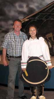 Inuit artist Lena Onalik with Alan Latourelle, Parks Canada's Chief Executive Officer