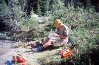 YCW student collecting and analyzing vegetation for ecological program