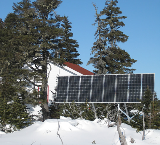 Close up of the new solar panel for the base camp at Île aux Oiseaux, Mingan National Park Reserve .