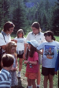 Student with visitors at Jasper National Park