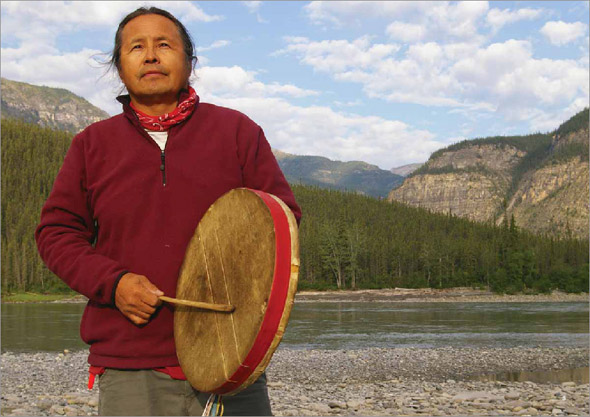 Former Grand Chief Gerald Antoine, Dehcho First Nations, on the Nahanni River