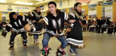 The community of Aklavik celebrates the successful cleanup of legacy contamination at Stokes Point with a feast and drum dance held in January 2011
