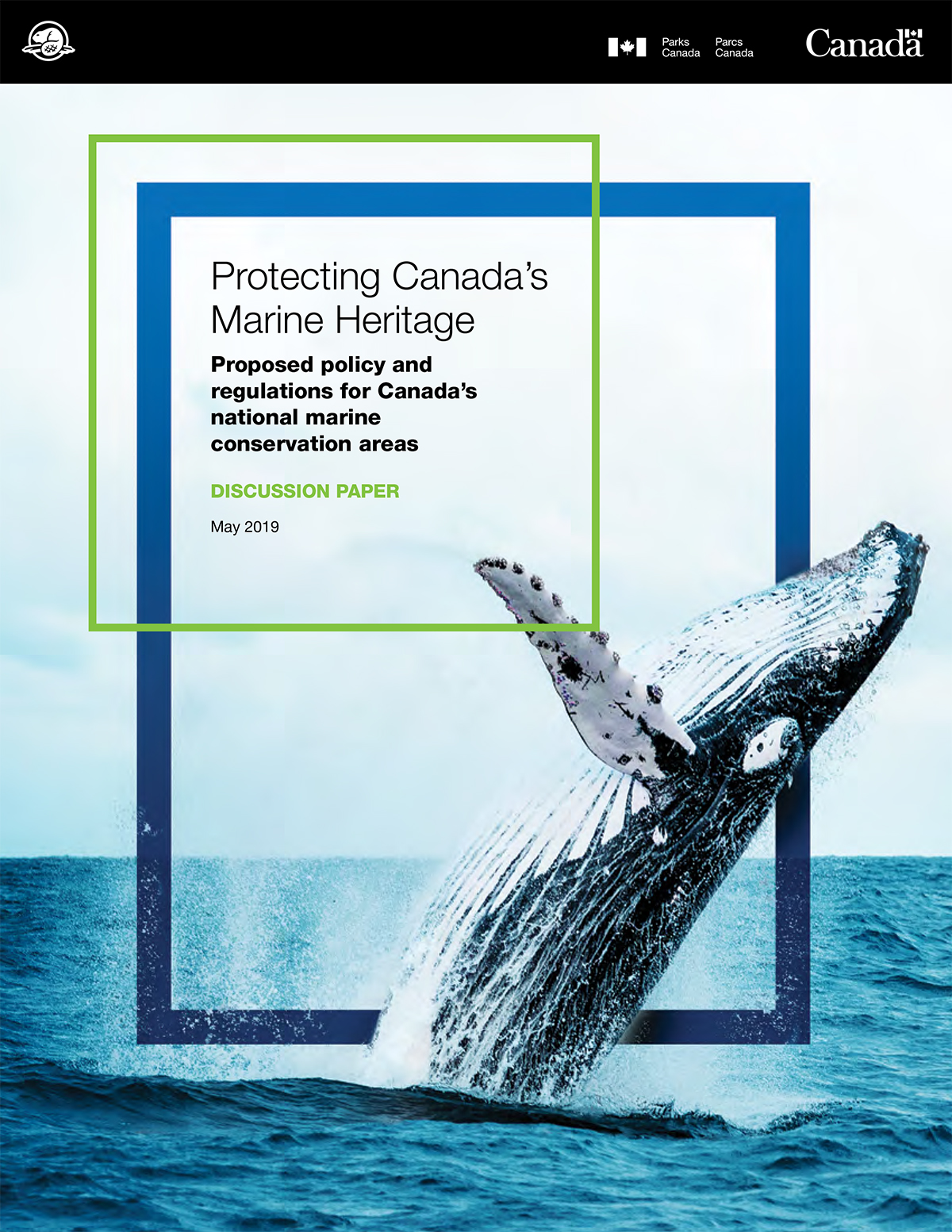 A whale breaching. Text: Protecting Canada's Marine Heritage - Proposed policy and regulations for Canada's conservation areas - Discussion paper - May 2019.