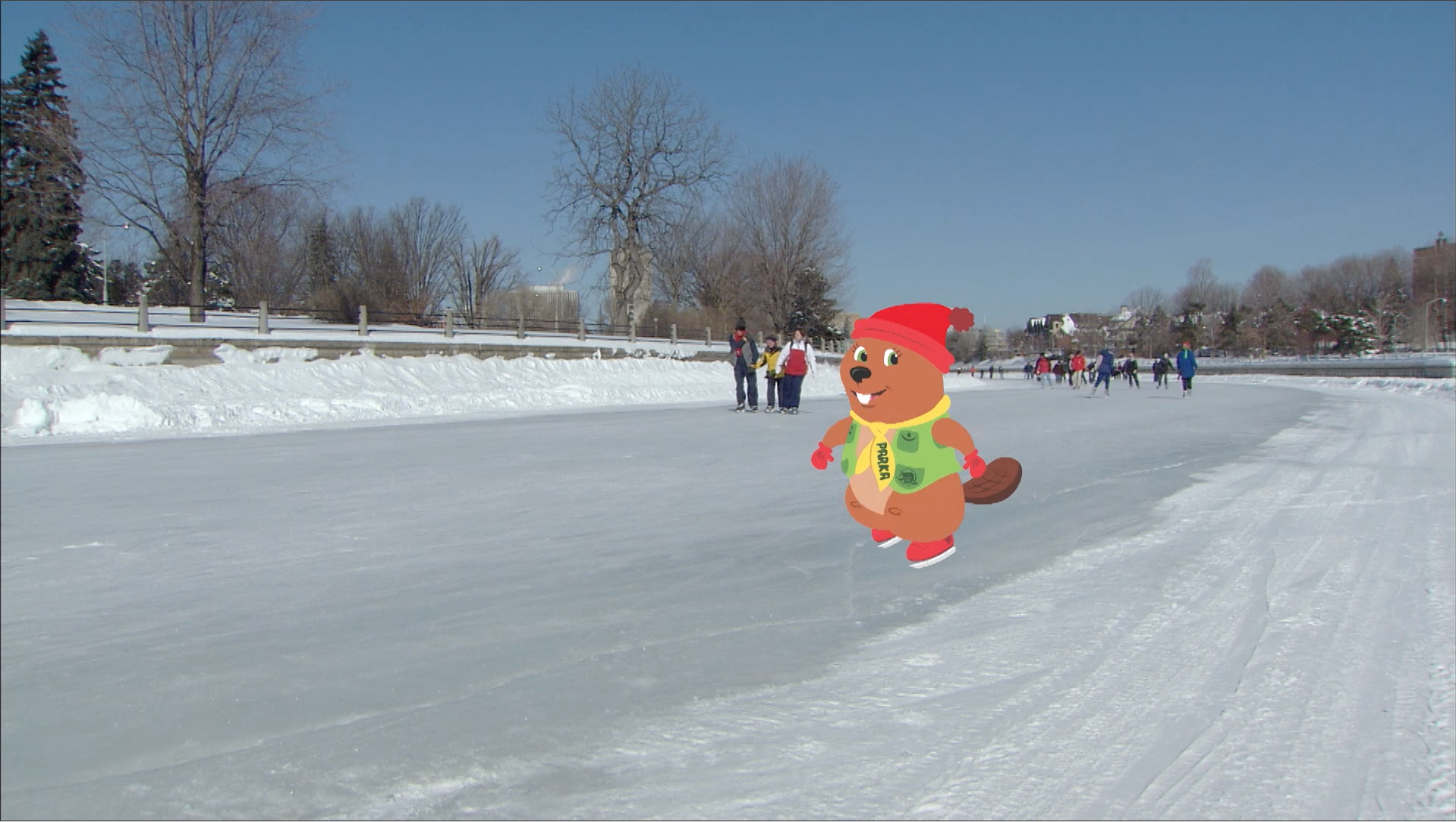 Parka goes skating on a frozen canal and imagines all the things she can do when it's warmer.