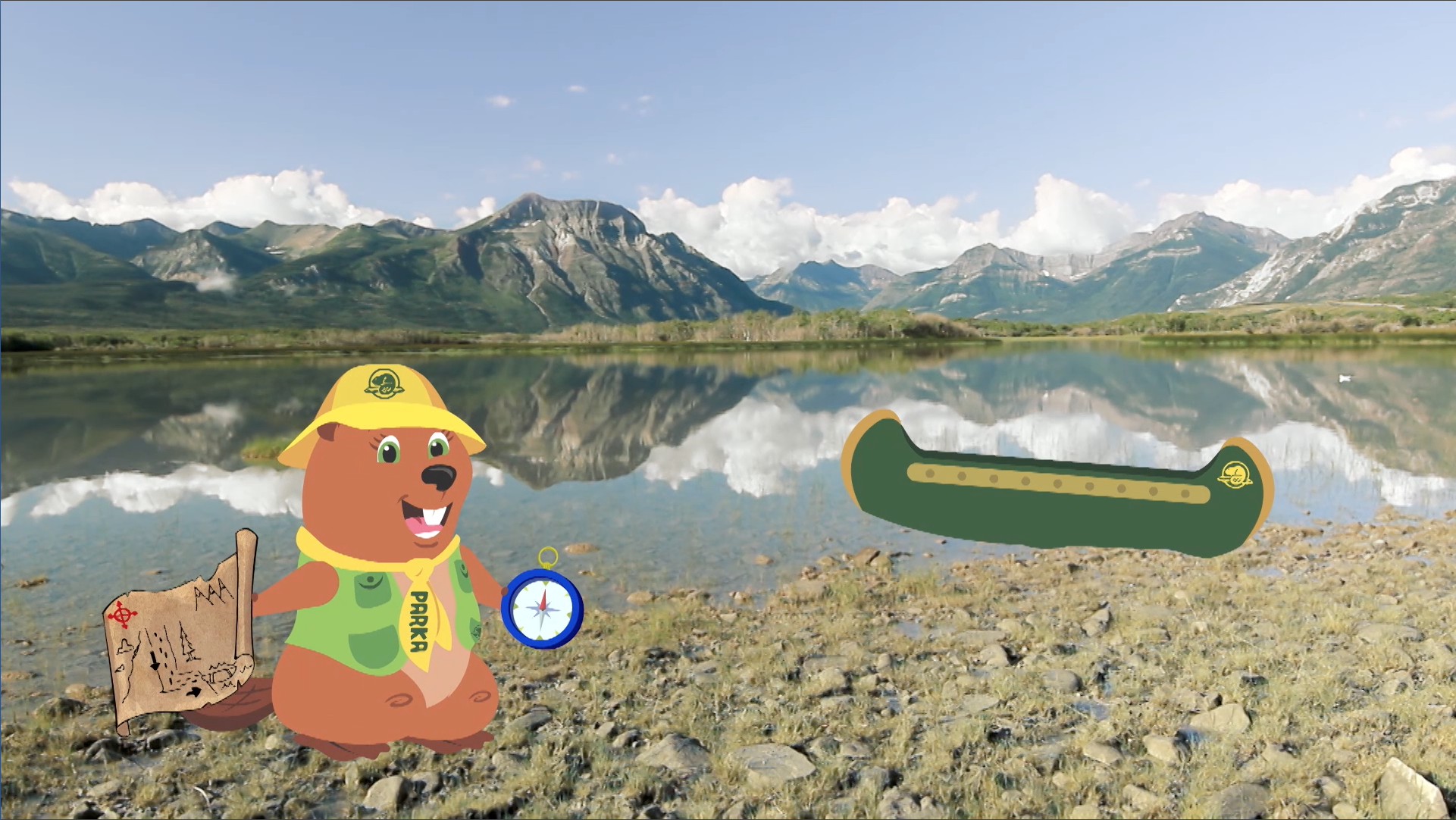 Parka uses a map and a compass to find her way to her canoe.