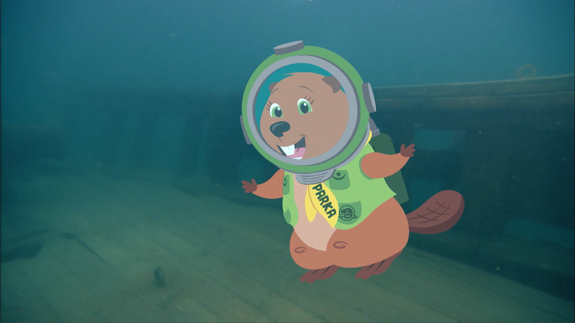 Parka goes deep sea diving and discovers that anemones are animals, not plants, and then finds an old shipwreck.