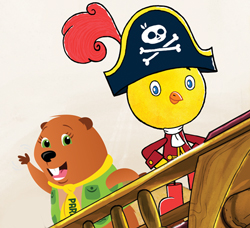 Parka and Chirp ride in a pirate ship.