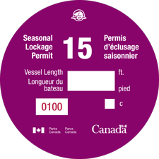 Sample of Seasonal Lockage Permit