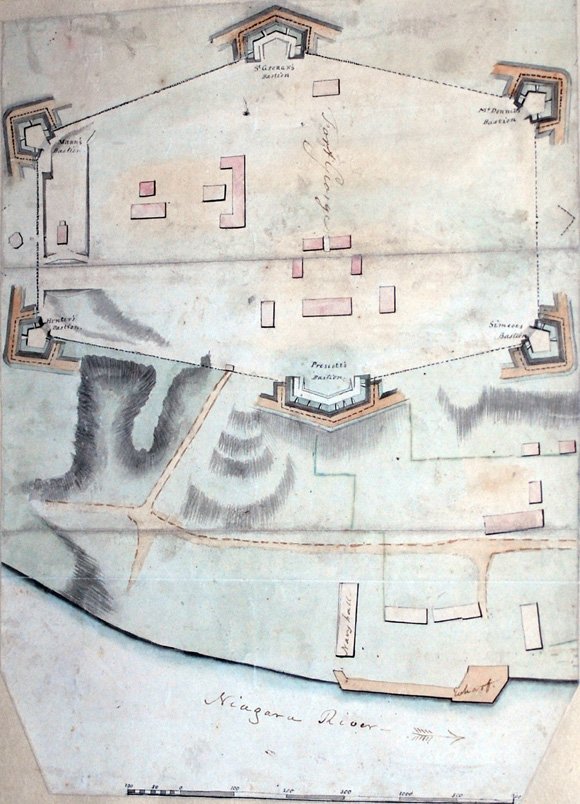 Watercolour Map of Fort George, circa 1800