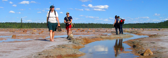 A barefooted female Parks Canada staff member leads three visitors and a small dog alongside a muddy creek.