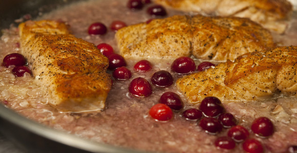 Fort Langley Salmon in Cranberry Vinegar Sauce