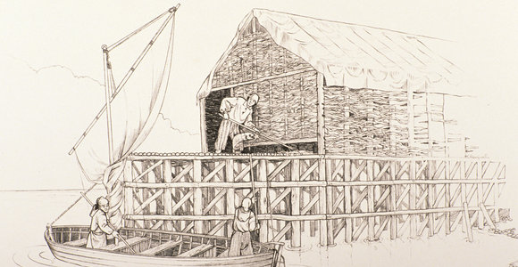 Pen and ink drawing of fish stage and boat arriving with cod
