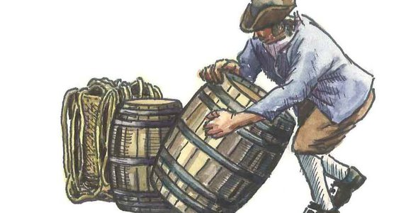 Painting of man with barrels, Ryan Premises National Historic Site