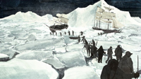 Image taken from the video, in which we can see some men leaving two vessels trapped in the ice