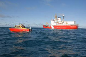 Canadian Coast Guard's Sir Wilfrid Laurier, with Canadian Hydrographic Services survey vessel in foreground. 2008 HMS Erebus and HMS Terror survey