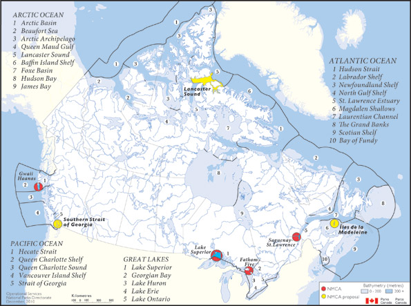 Figure 3 presents the National Marine Conservation Areas of Canada System Plan