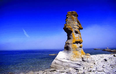 Rock formation (monolith) on Niapiskau Island in Mingan Archipelago National Park Reserve.