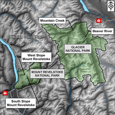 Blow up Waterton Section of the mountain parks map. Identify Crandell Mountain, Bertha Peak, the Blackiston Valley, Cameron Lake and Belly River area