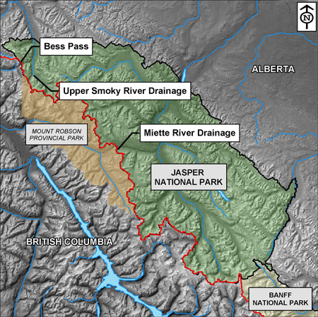 Blow up Jasper Section of the mountain parks map-highlight the Smoky River, Holmes river drainage, Miette Watershed and Bess Pass