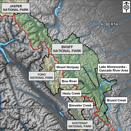 Map of Banff National Park, identifying Brewster Creek, Healy Creek, Bryant Creek, Bow River, Mount Cory, Castle Junction and Lake Minnewanka drainages