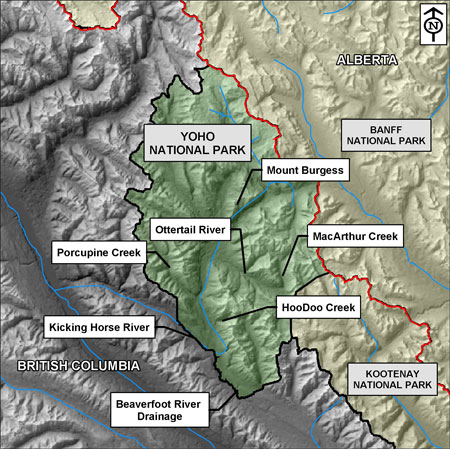 Map of Yoho National Park highlighting Hoodoo Creek, MacArthur Creek, Beaverfoot River and Kicking Horse River