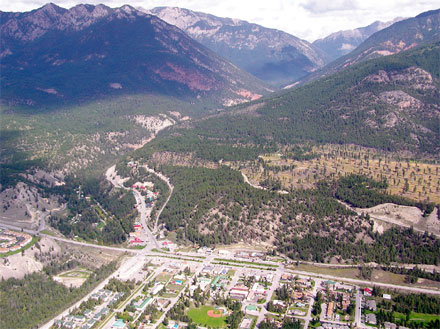 Aerial view of Radium Hot Springs