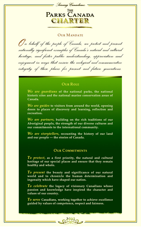 The Parks Canada Charter