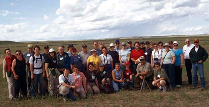 Saskatchewan teachers at a field being restored at Grasslands National Park of Canada