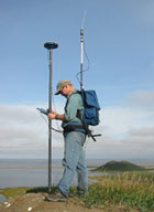 Researcher on Ibyuk Pingo recording data