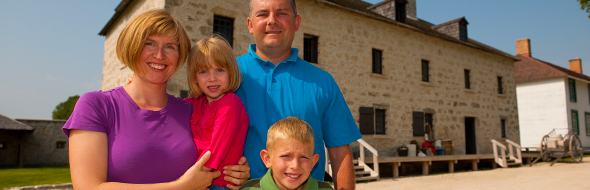 Family at Lower Fort Garry National Historic Site