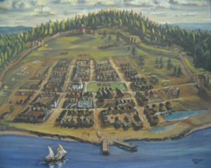 Image of oil painting depicting early fortification on Citadel Hill