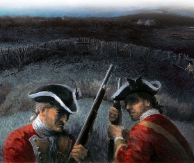 British Soldiers defending the fort, 1744
