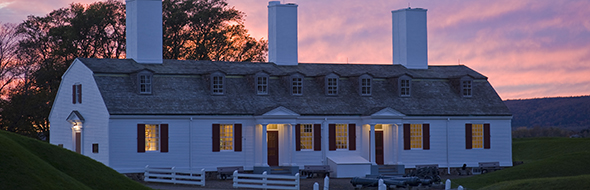 Officers' Quarters museum at Fort Anne National Historic Site at night