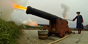 Cannon firing at Louisbourg